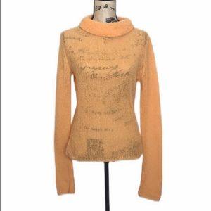 Free People Orange Knit Merino Wool Blend Sweater